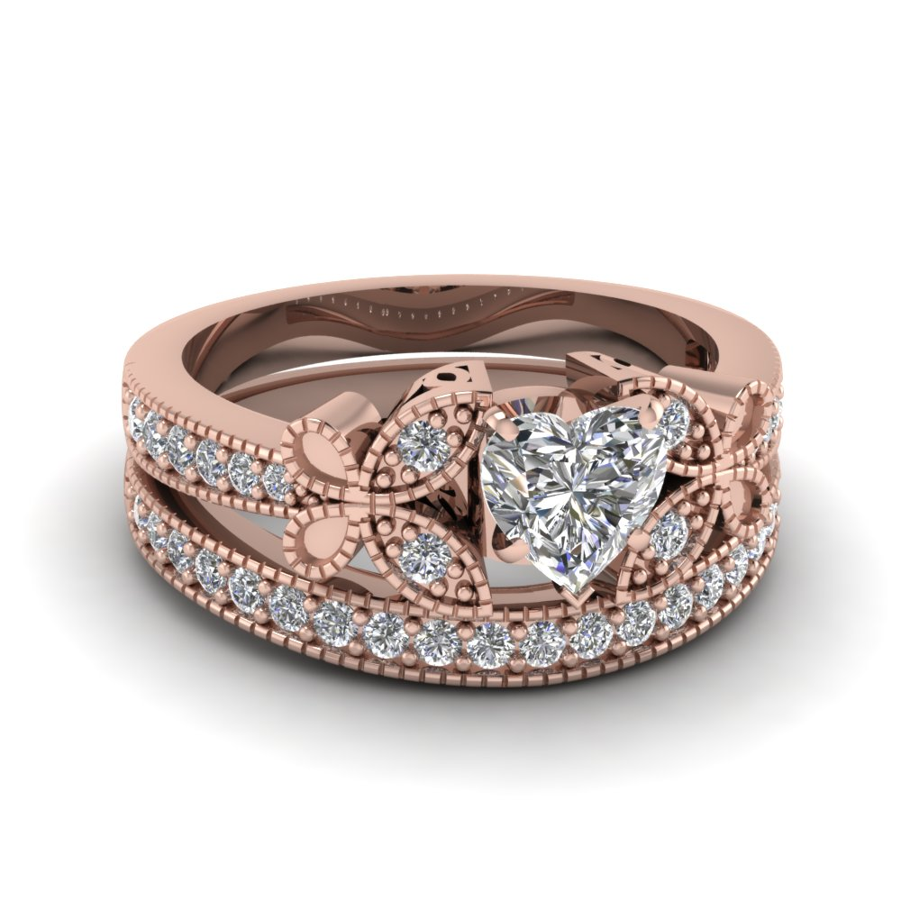 Heart Shaped Diamond Engagement Rings With White Diamonds In 14k Rose Gold