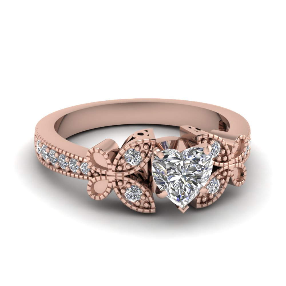 Heart Shaped Diamond Engagement Rings With White Diamond In 18k Rose Gold