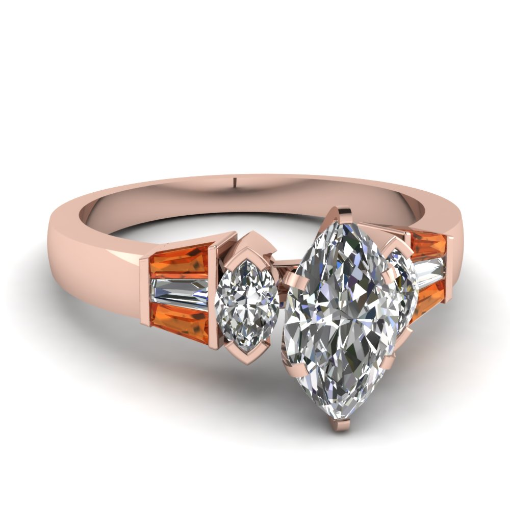 rose gold marquise white diamond engagement wedding ring orange sapphire in p