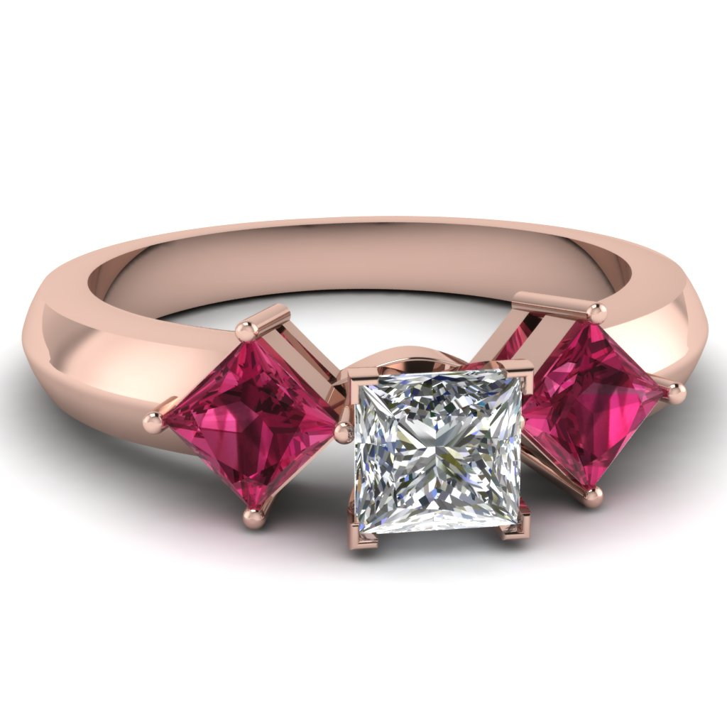 Princess cut diamond engagement rings with pink sapphire for Princess cut pink diamond wedding rings