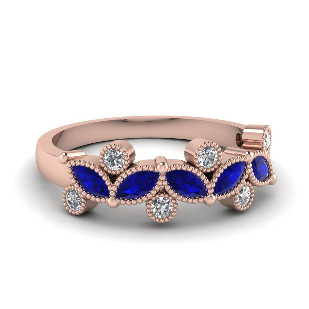 Natured Inspired Leaf Milgrain Women Sapphire Band in Rose Gold