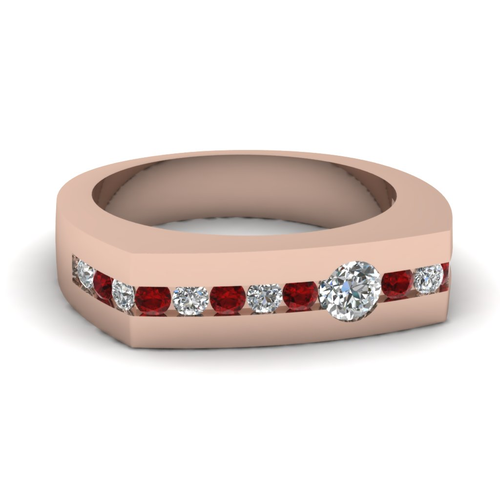 Mens Wedding Rings With Red Ruby In 18K Rose Gold Arched Band Ring Fascin