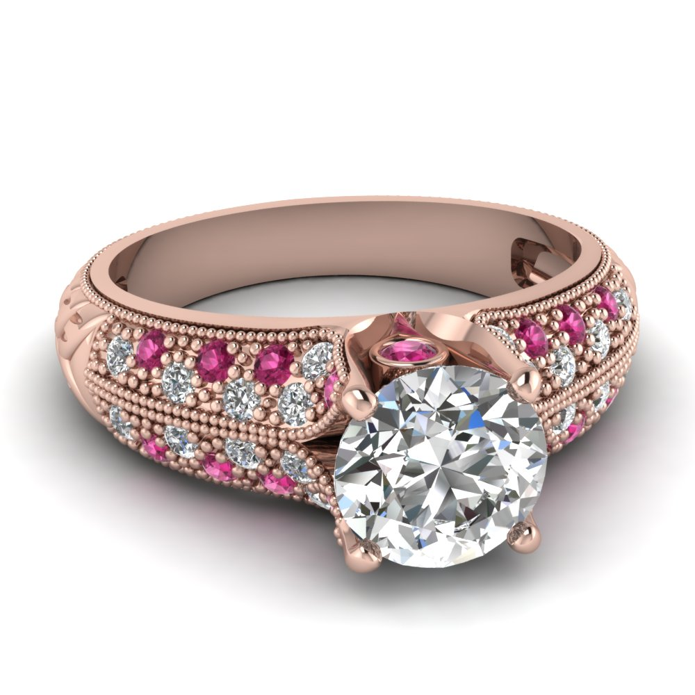Milgrain Crown Diamond Pink Engagement Ring
