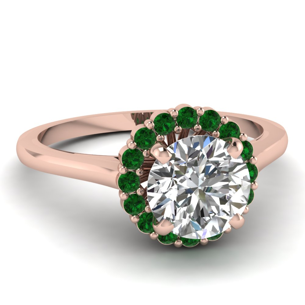 Narrow floral ring fascinating diamonds for Emerald green wedding ring