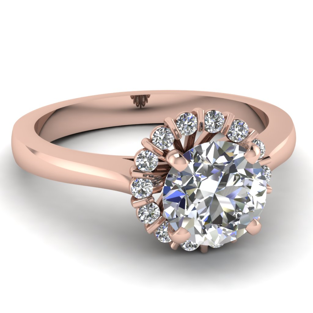 Floral Bar Set Halo Diamond Engagement Ring