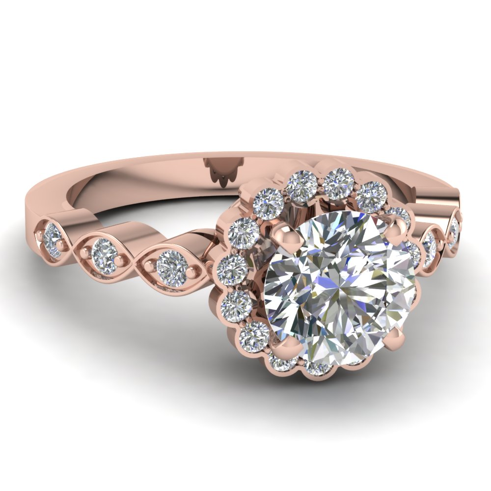 Marquise Shank Flower Diamond Engagement Ring in Rose Gold