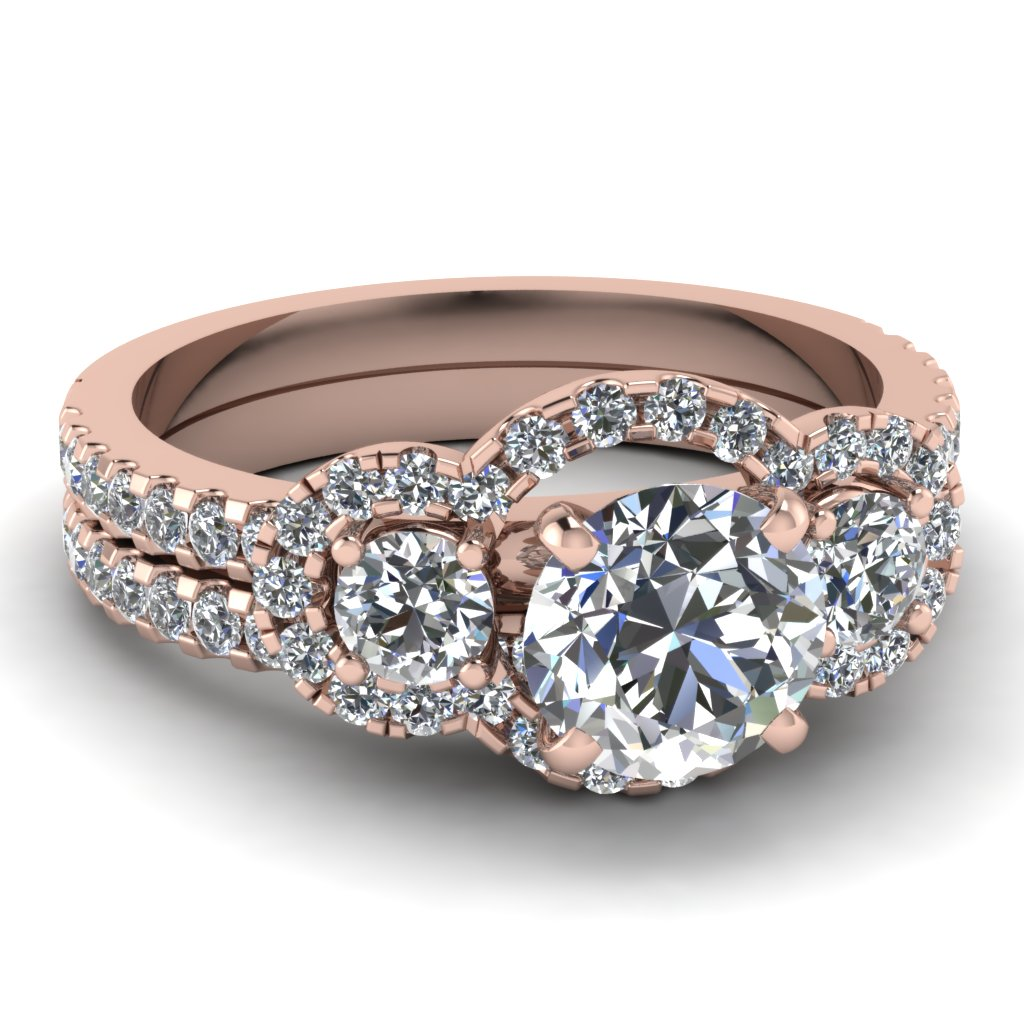 Round Cut diamond Wedding Ring Sets with White Diamond in 14K Rose Gold