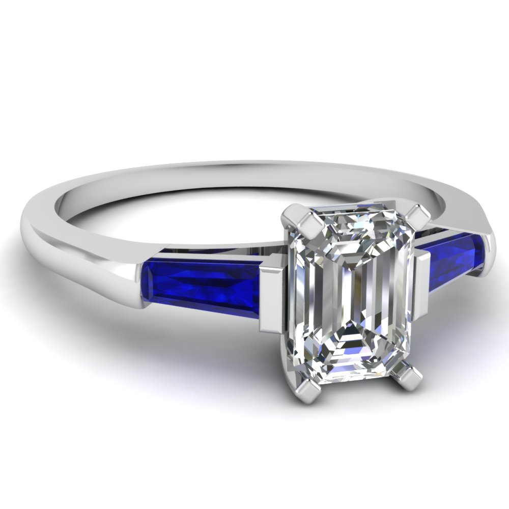Emerald Cut Diamond Baguette Sapphire Three Stone Ring