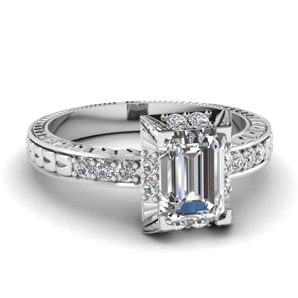 emerald cut engagement rings with white diamonds