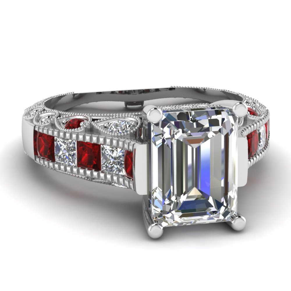 white gold emerald white diamond engagement wedding ring red ruby in channel