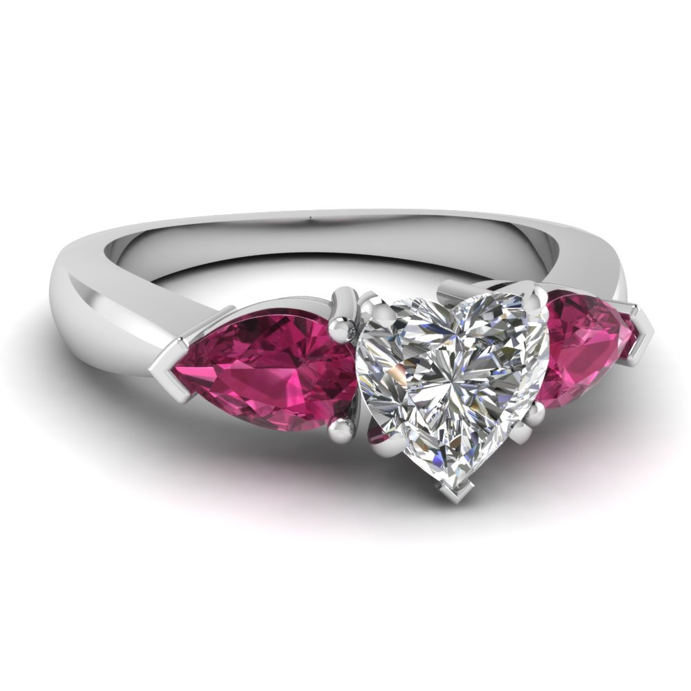 Heart Shaped Diamond Three Stone Ring With Pink Sapphire In 14k White Gold