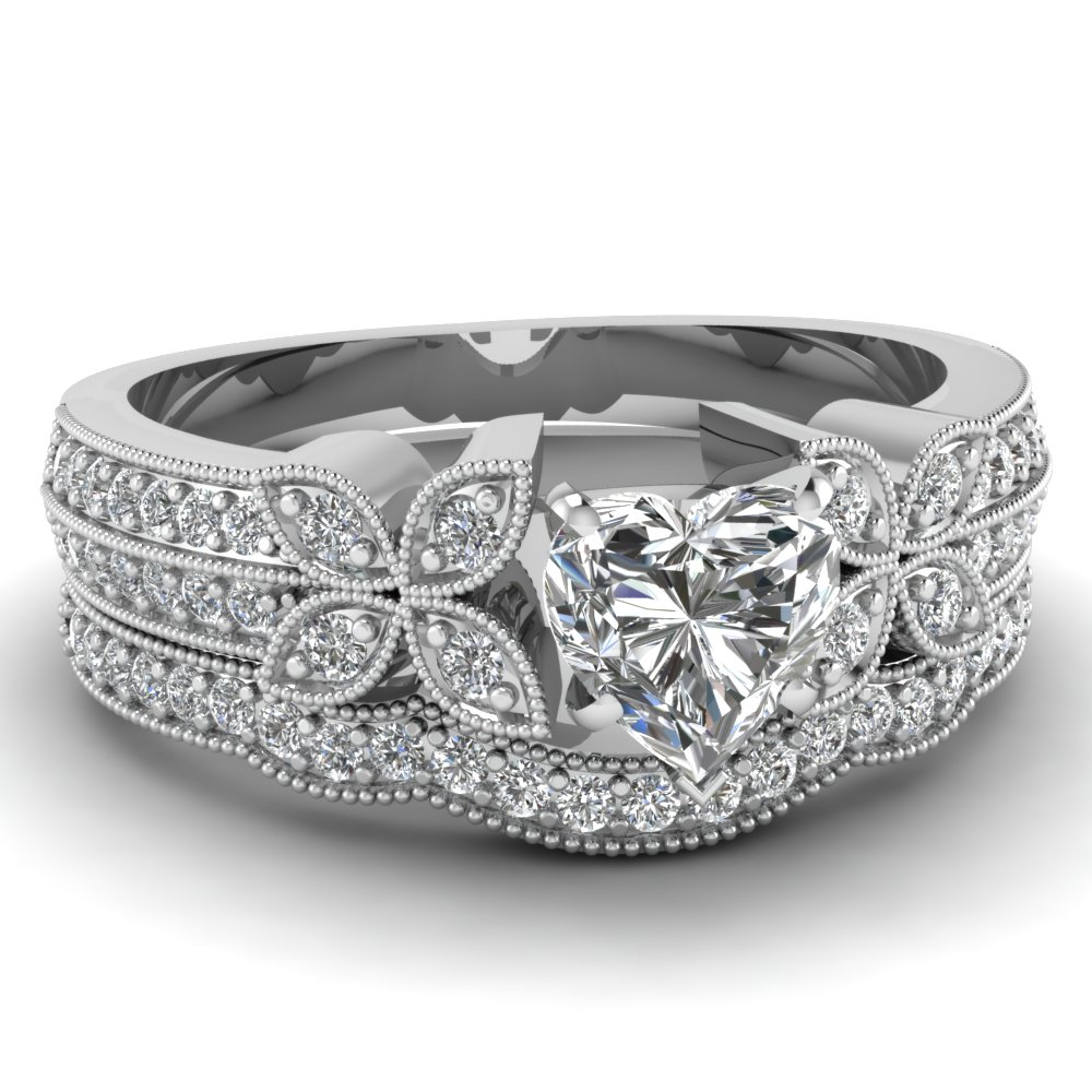 heart shaped diamond wedding sets with white diamond in