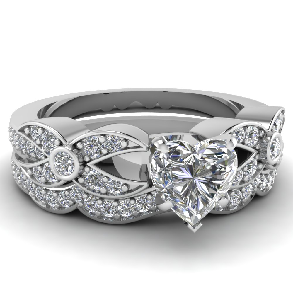 heart wedding bands white gold images