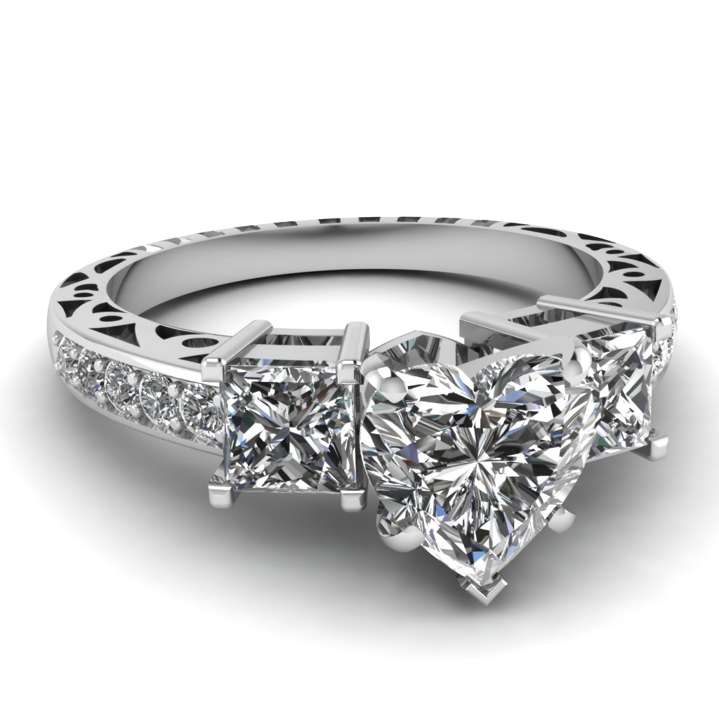 heart shaped diamond engagement rings with white diamonds