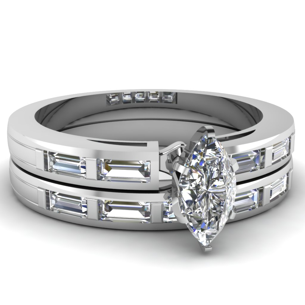 Marquise Shaped Diamond Engagement Rings With White Diamonds In Platinum Plat