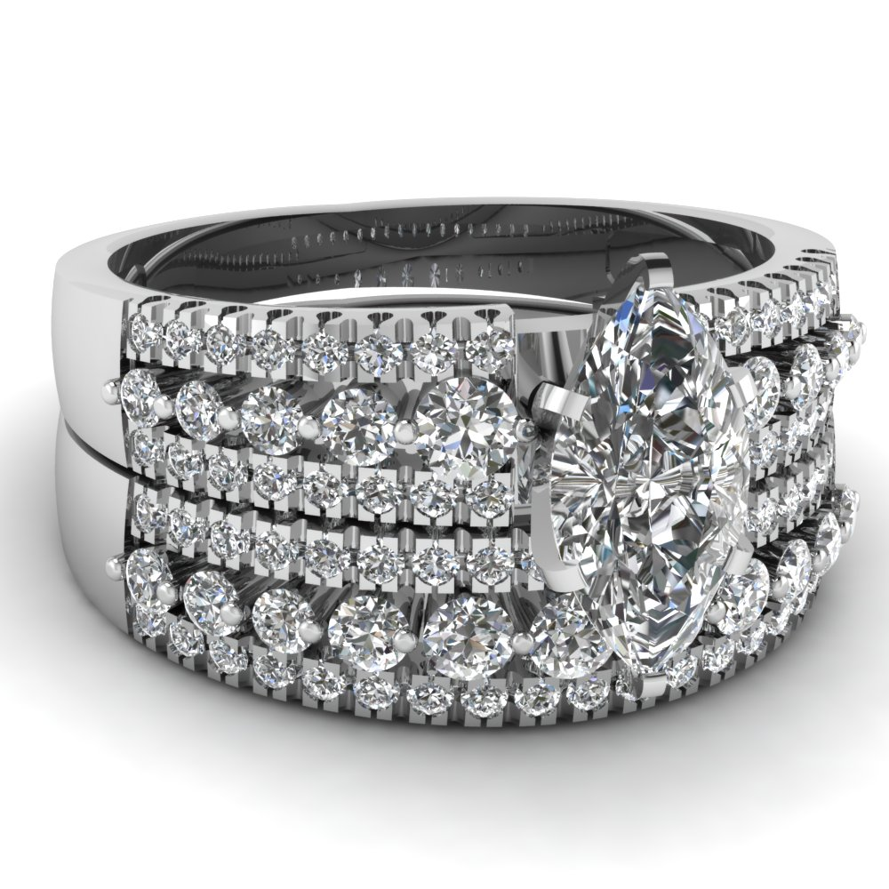 White Gold Marquise White Diamond Engagement Wedding Ring In Pave Set FDENS30