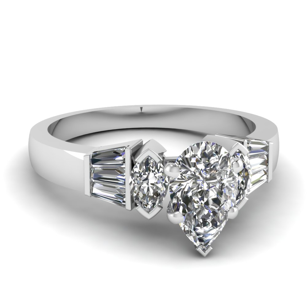 Pear Shaped Beautiful Baguette Diamond Engagement Ring