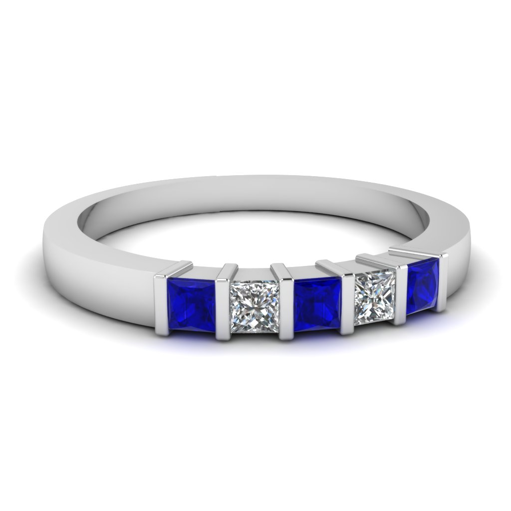 prong wedding bands sapphire wedding band Scott Kay Ladies Diamond and Sapphire Wedding Ring at Bernie Robbins