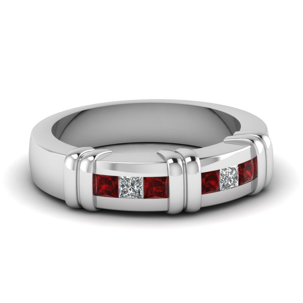 princess cut channel set ruby mens ring