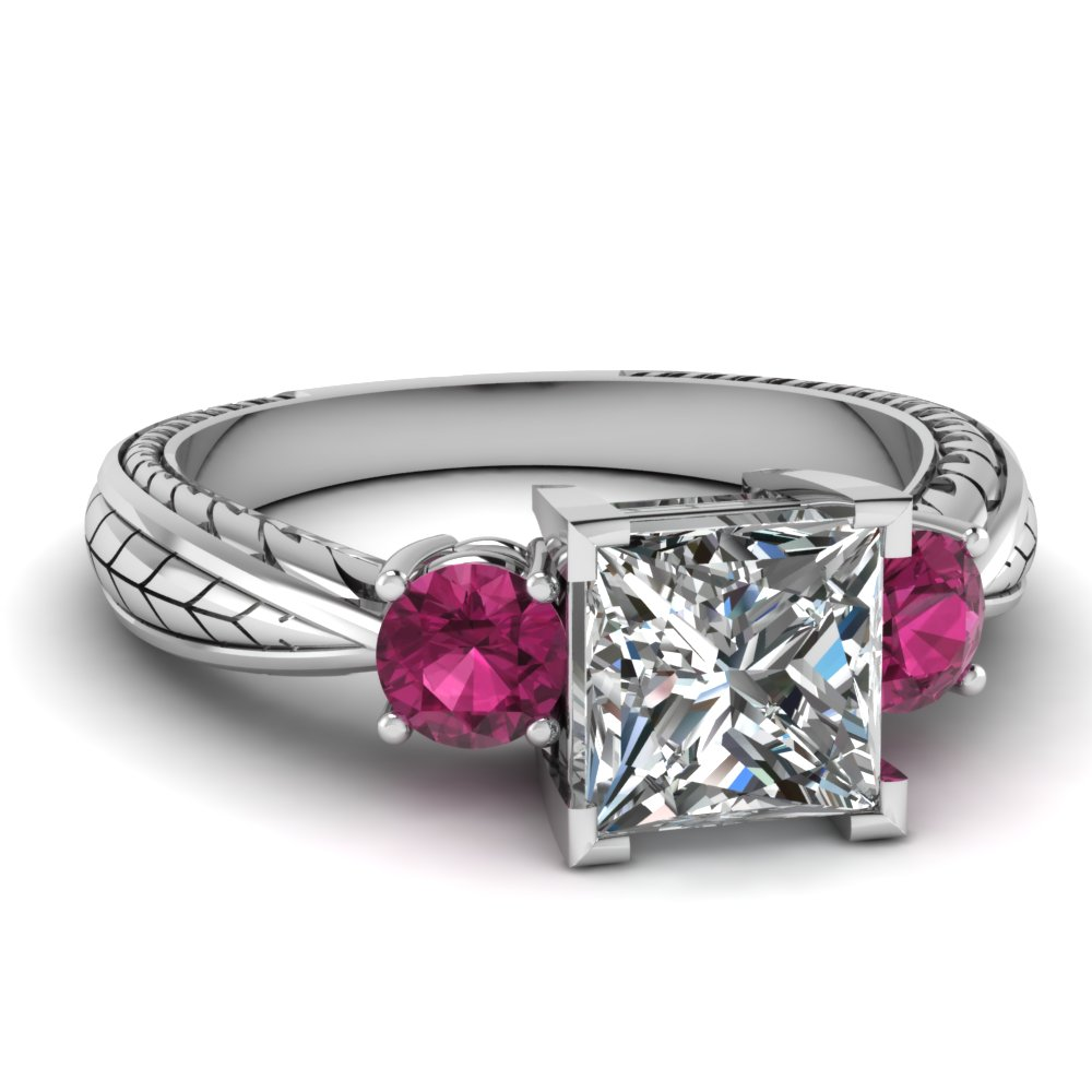Princess cut diamond 3 stone engagement rings with pink for Princess cut pink diamond wedding rings