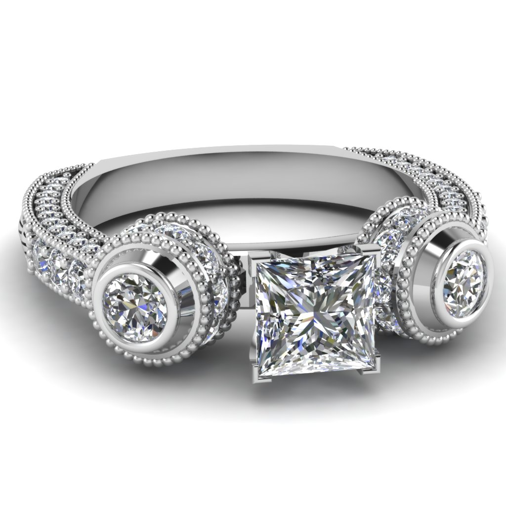 Milgain Vintage Style Big Diamond Ring