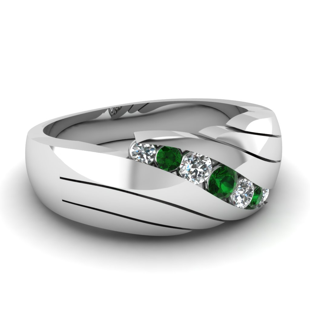 14k white gold s wedding ring in green emerald