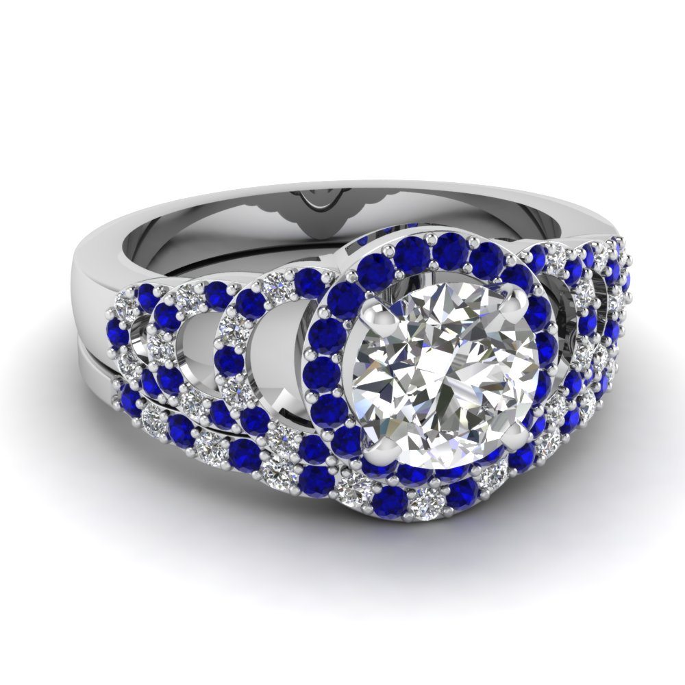 Awesome diamond and blue sapphire wedding sets for Blue sapphire wedding ring set