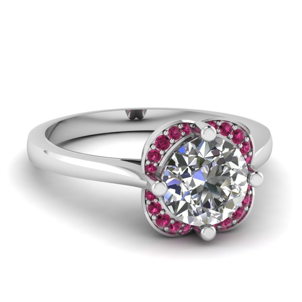 Affordable and Beautiful Round Diamond Floral Engagement Ring