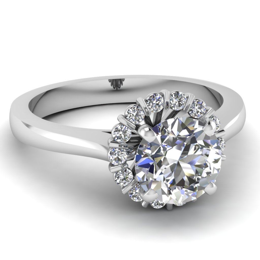 Floral Bar Halo Diamond Engagement Comfort Fit Ring in White Gold