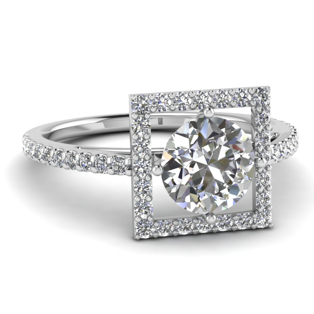 square halo diamond engagement ring - Square Wedding Rings
