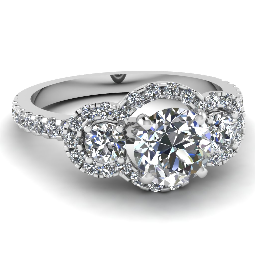 triple round halo side stone engagement ring - Big Wedding Rings