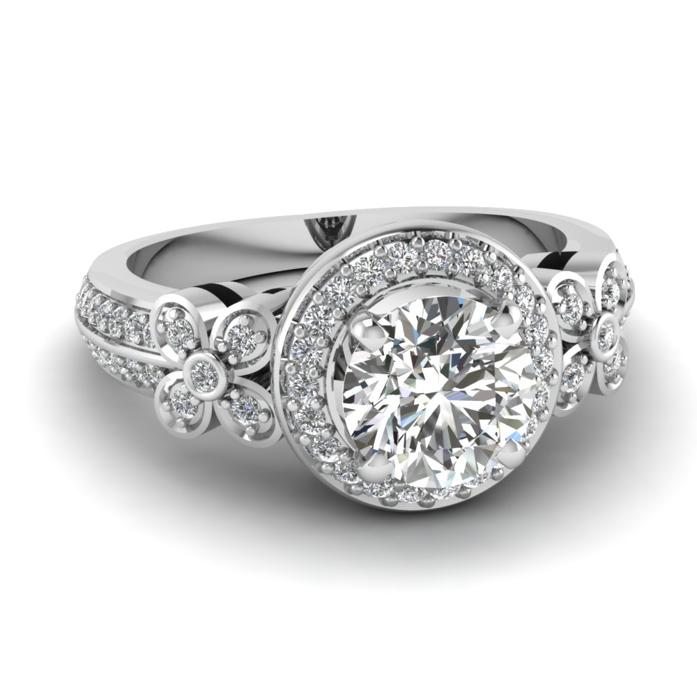 Floral Round Diamond Halo Engagement Ring