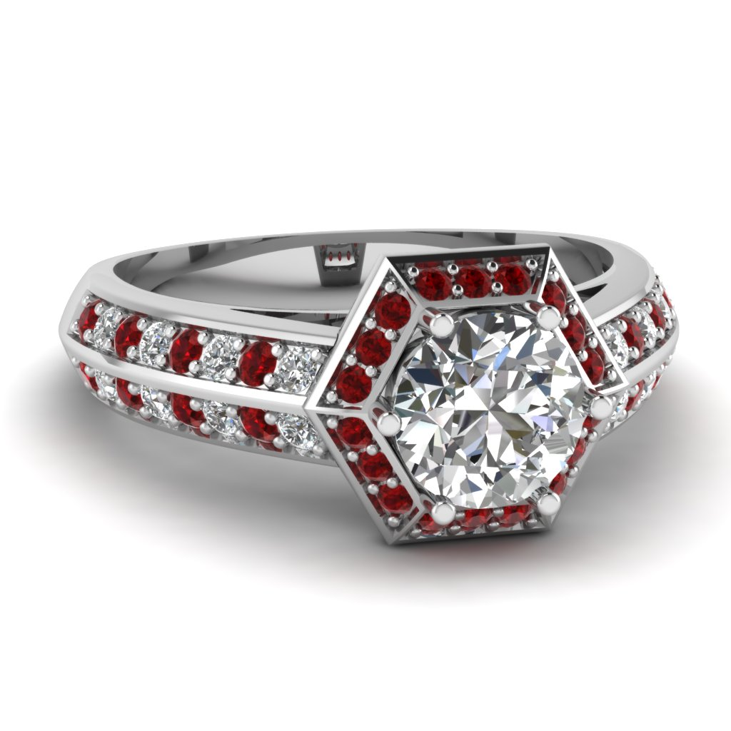 Hexagon Ruby and Diamond Beautiful Vintage Engagement Ring