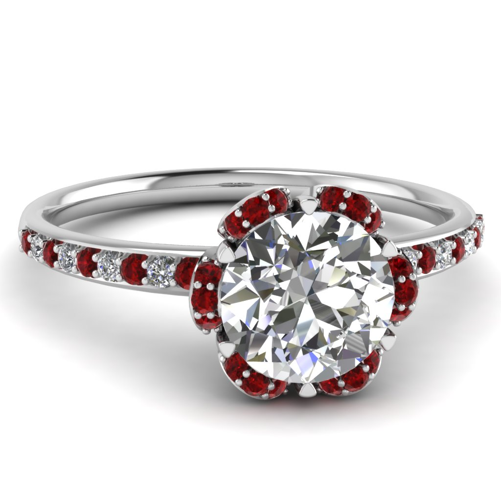 Petal Flower Round Diamond Ruby Engagement Ring