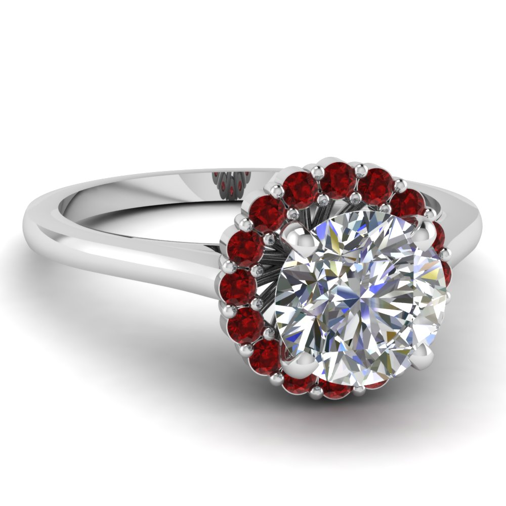 Ruby Halo Flower Diamond Engagement Narrow Ring For Women in White Gold