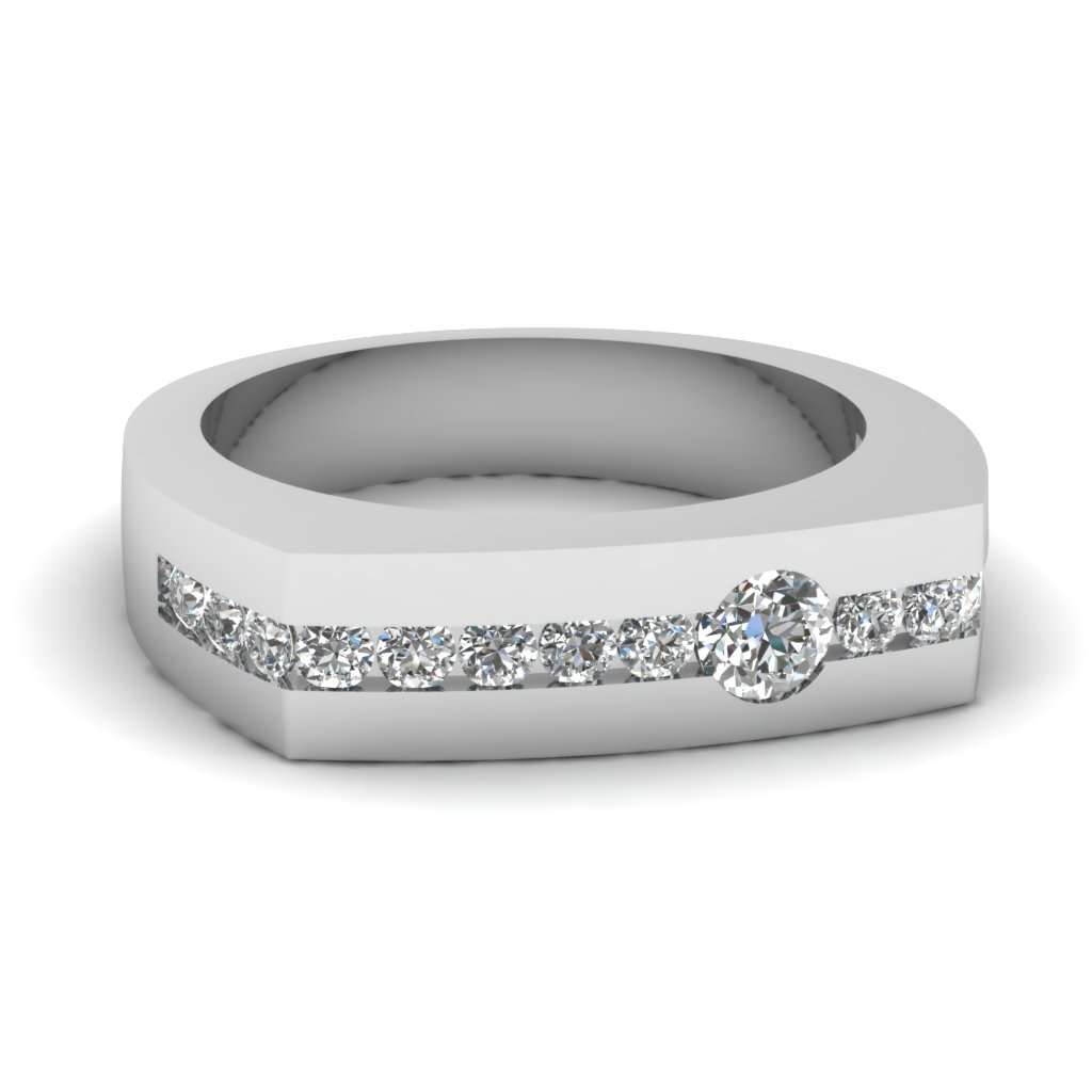 Channel set diamond arched mens wedding band