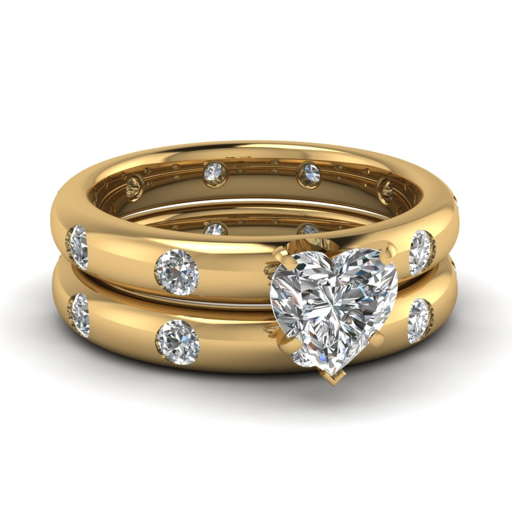 heart shaped diamond wedding ring sets with white diamond