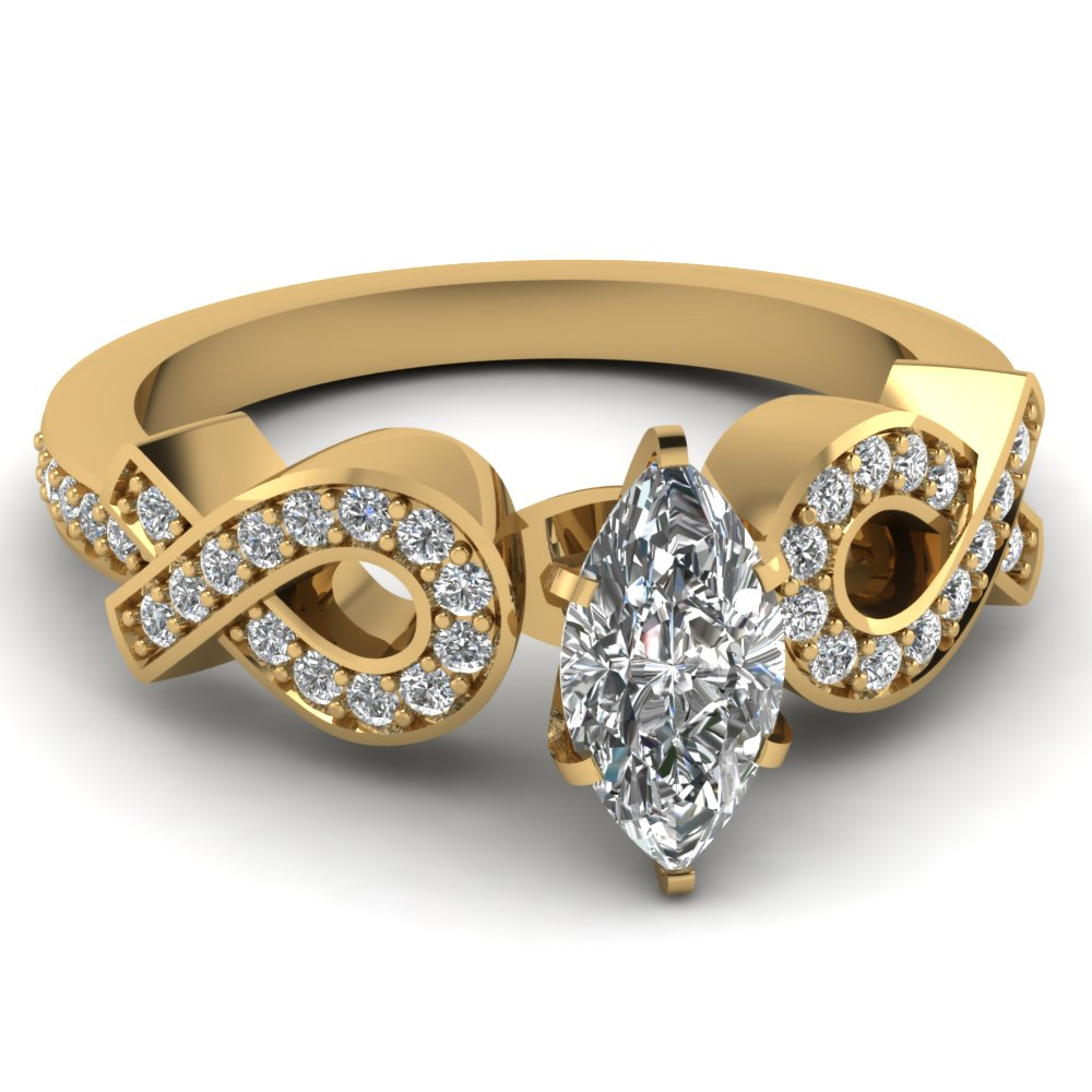 Marquise Pave Entangled Diamond Engagement Ring