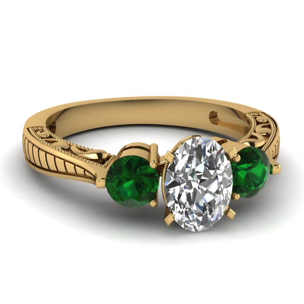 Affordable Three Stone Green Emerald Engagement Rings ...