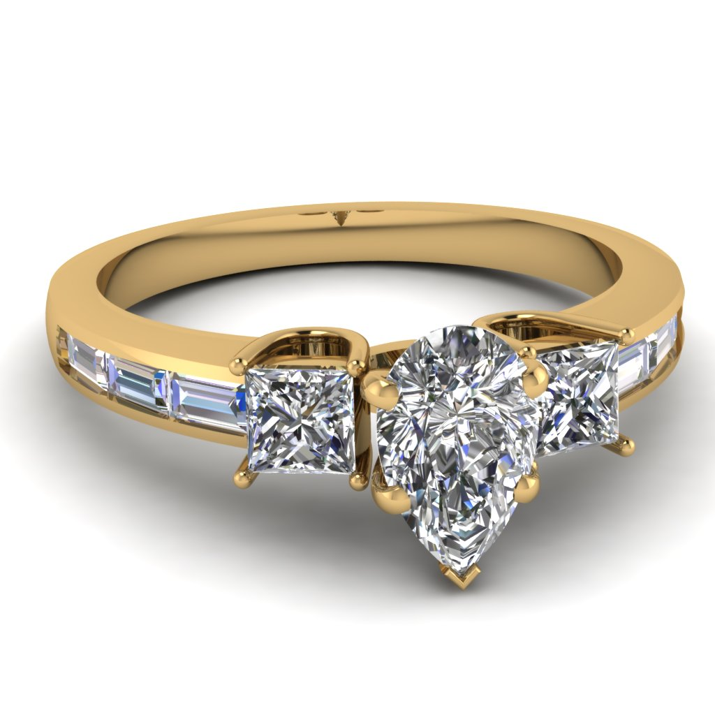 14K Yellow Gold Pear Shaped White Diamond Side Stone Engagement Rings