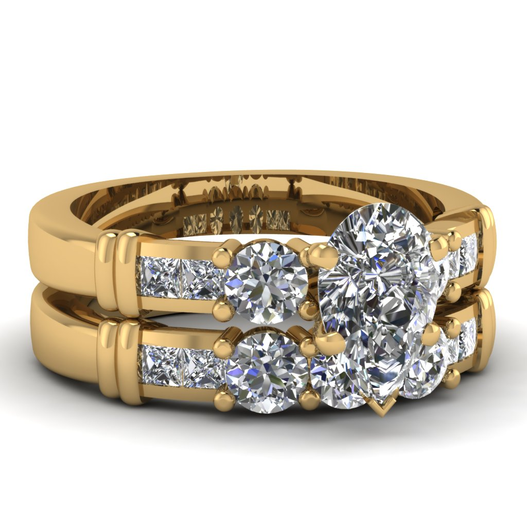 Channel Set 7 Stone Diamond Gold Wedding Sets