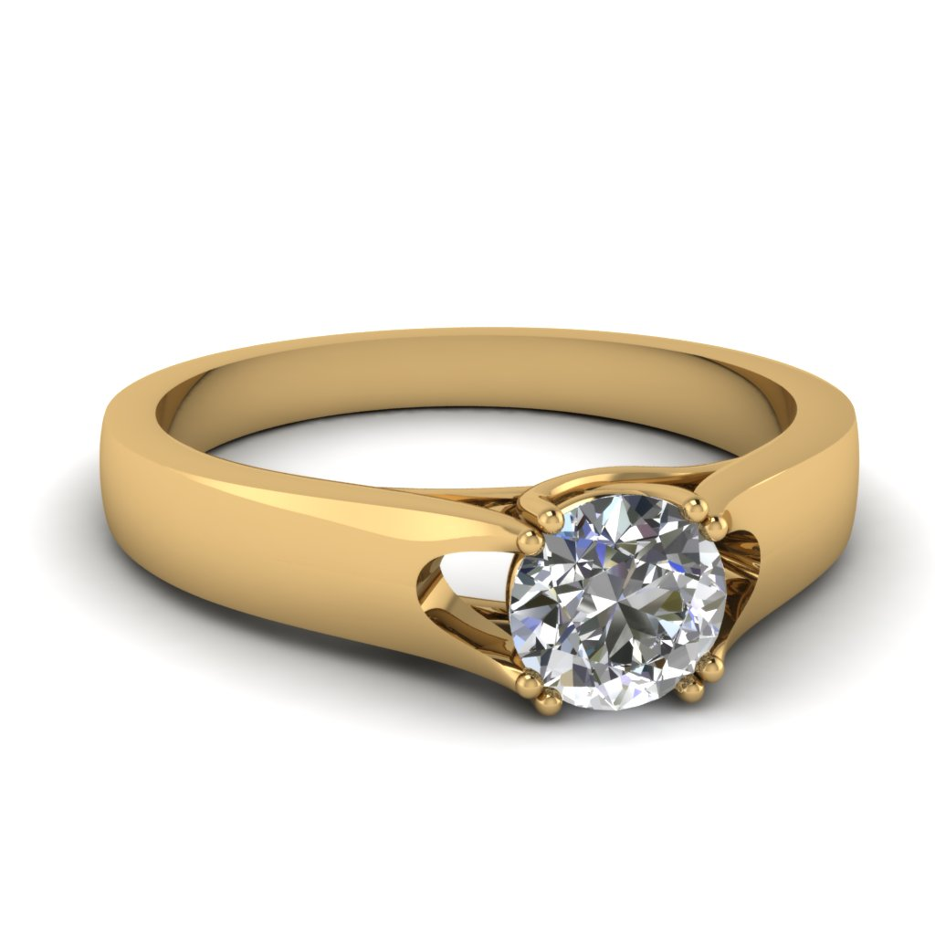 U Prong Solitaire Diamond Gold Engagement Ring