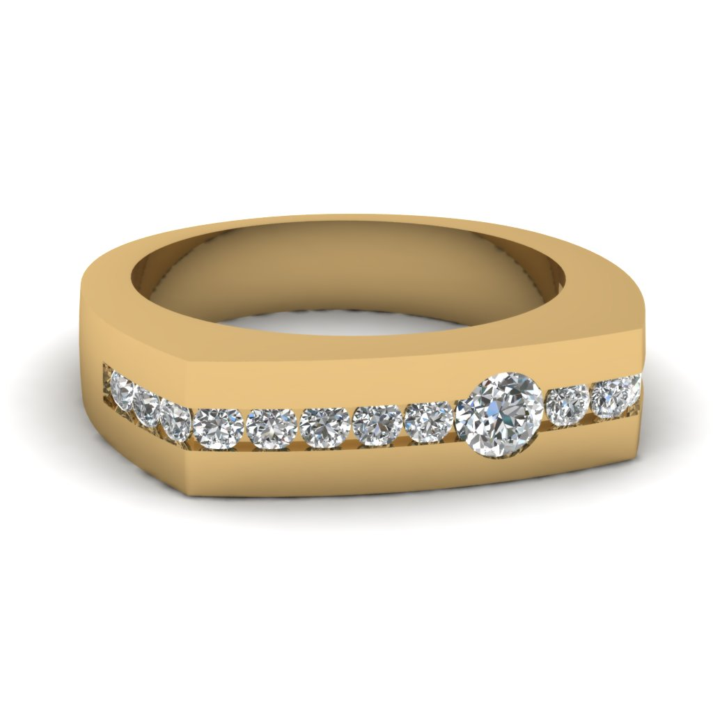 Flat Band Diamond Gold Wedding Ring